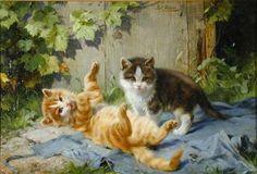 Julius Adam (1852 - 1913)  - Up to Mischief - Oil on canvas