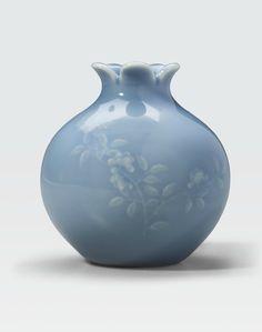 A sky blue glazed pomegranate vase, Haoran Tang mark, Daoguang period