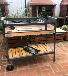 Backyard Kitchen, Backyard Bbq, Terrace Grill, Parrilla Exterior, Argentine Grill, Custom Bbq Pits, Outdoor Wood Projects, Brick Bbq, Portable Stove