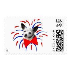 Patriotic Dog Postage Stamps