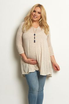 Beige-3/4-Sleeve-Solid-Knit-Plus-Size-Top