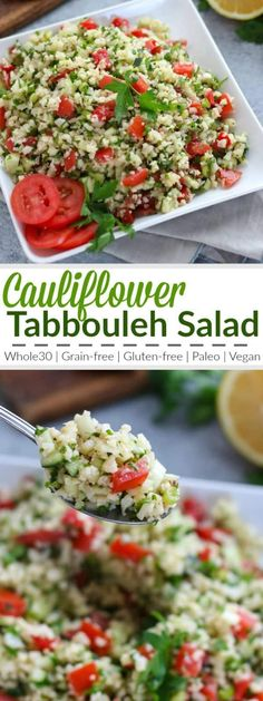 Cauliflower Tabbouleh Salad A fresh grain-free take on a traditional Middle Eastern dish! We've replaced the bulgur wheat with lightly sauteed cauliflower 'rice' for a gluten-free and paleo-friendly side dish to serve with your favorite protein or share Healthy Salad Recipes, Real Food Recipes, Vegetarian Recipes, Cooking Recipes, Bulgur Recipes, Disney Recipes, Potluck Recipes, Disney Food, Healthy Snacks