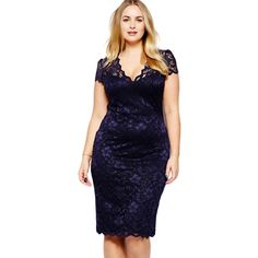 Navy Blue V-Neck Lace Plus Size Midi Dress LAVELIQ