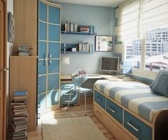 Kids Room: Extraordinary Ideas For Small Bedroom For Boys With Small Bed With Some Drawer Storage Beneath Furthermore Cyrved Closets At The Corner Near L Shaped Working Desk And Chest Of Drawers Design Ideas: Boys Bedroom Decor With Stunning Display