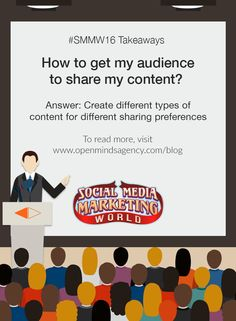 10 Social Media Marketing Questions Answered by Experts: SMMW16 Takeaways Question #8: How to get my audience to share my content? Answer: Create different types of content for different audiences. To read more, [Click on Image] #omagency #smmw16 #socialmedia #marketing
