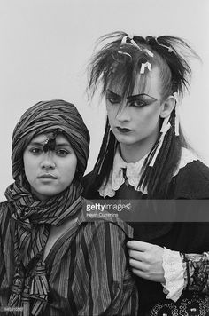 Singers Annabella Lwin (left) and Boy George, of English new wave group Bow Wow Wow, Manchester University, 14th March 1981. George performed two concerts with Bow Wow Wow under the name Lieutenant Lush, before going on to form his own band, Culture Club.
