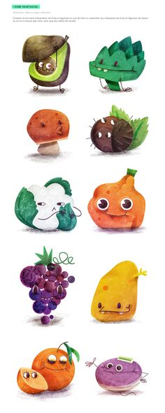 Projet de création d'un calendrier, illustré avec les fruits et légumes de saison