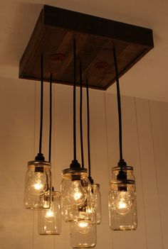 Mason Jar Chandelier - Mason Jar lighting - Upcycled Wood $450