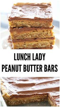 Lunch Lady Peanut Butter Bars are the best dessert of all time! These Lunch Lady Peanut Butter Bars are the best dessert of all time! Easy Desserts, Delicious Desserts, Yummy Food, Healthy Food, Homemade Desserts, Healthy Appetizers, Yummy Snacks, Healthy Meals, Healthy Eating