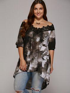 Plus Size Lace Patchwork Asymmetrical Blouse