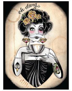Coffee Fiend Flapper Tattoo Print by MissMartinTattoos on Etsy https://www.etsy.com/listing/160710908/coffee-fiend-flapper-tattoo-print