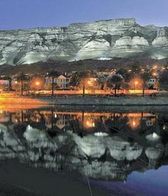 Table Mountain lit up at night - Cape Town, South Africa Table Mountain, Monuments, South Afrika, Africa Destinations, Cape Town South Africa, Out Of Africa, Most Beautiful Cities, Africa Travel, Wonders Of The World