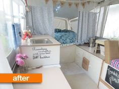 Before & After: Sarah's Sweet Pop-Up Camper // I can see how this would make things seem so much lighter and cleaner - nice for an old camper make over.