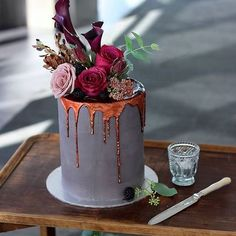 Oooh, that molten copper drip! #wedding #cake