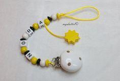 Schnullerkette Stern Wunschname Name Baby md260 von myduttel auf DaWanda.com