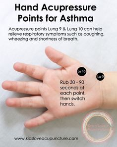 #KidsLoveAcupuncture Hand Acupressure Points for Asthma lung 9 and 10
