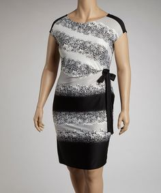 Take a look at this Black & Gray Snake Skin Print Cap-Sleeve Dress - Plus by AA Studio on #zulily today!
