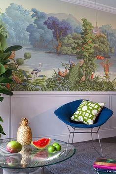 'Le Bresil' design in Eden colourway on scenic paper.Hotel 'La Demeure', Paris