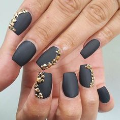 Black Matte Nails with Gold Studs
