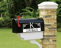 MAILBOX MONOGRAM Set of 2 Mailbox Monogram Family Name Mailbox Monogram, Rural Mailbox, Look Good For You, How To Remove, How To Apply, Your Location, All Wall, Paint Finishes, Vinyl Wall Decals