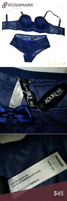 NWT Adore me bra and panty set Adore Me brand.  Super cute Navy blue corset style matching set.  Never worn.  34ddd bra and large panties. adore me Intimates & Sleepwear Bras