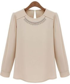 Nude Long Sleeve Necklace Embellished Blouse - Sheinside.com
