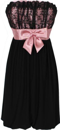 Amazon.com: Strapless Lace and Satin Cocktail Prom Little Black Dress: Clothing