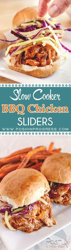 What's for dinner tomorrow night? I love slow cooker / crockpot recipes and these BBQ Chicken Sliders do not disappoint and they are low calorie!