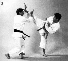 Morote shutō uke, jōdan mawashi geri