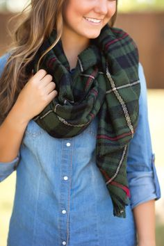 Fall Fashion, Fall Scarf, OOTD, Plaid Scarf- Cute