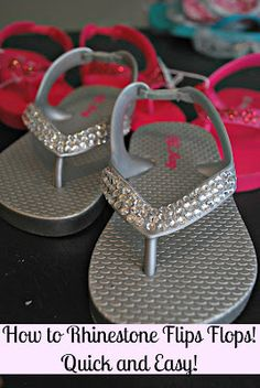 BLING flip flops... the EASY way using E6000, beeswax and wooden stick from Classy Clutter