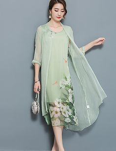 Women& Plus Size Going out Street chic Two Piece Dress,Floral Peter Pan Collar Midi ½ Length Sleeve Polyester Nylon Summer Fall Mid Rise – GBP £ Fashion Vestidos, Fashion Dresses, Two Piece Dress, Chinese Style, Spring Dresses, Street Chic, Dresses Online, Designer Dresses, Vintage Dresses