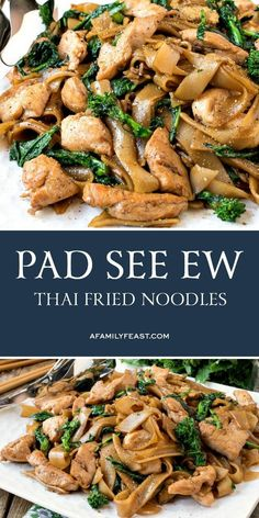 Just like the dish served at your favorite Asian restaurant, make authentic Pad See Ew (Thai Stir-Fried Noodles) at home with this easy recipe! recipe authentic Pad See Ew (Thai Stir-Fried Noodles) - A Family Feast® Noodle Recipes, Pasta Recipes, Dinner Recipes, Cooking Recipes, Meal Recipes, Easy Asian Recipes, Healthy Recipes, Thai Food Recipes Easy, Authentic Thai Recipes