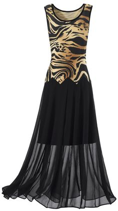 Wild Woman Dress Animal Print Dress :: Full-length, feline creation features a figure-flattering, animal-print bodice with a long, chiffon overskirt and knee-length underskirt.