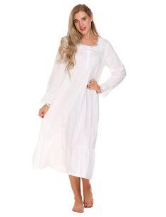 6e2c00aaa12 Ekouaer Elegant Solid Nightwear Women Victorian Nightgown Long Sleeve  Sleepwear Lace Patchwork Ruffled Hem Night Dress Plus Size