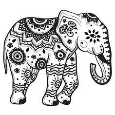 Mandala Indian Elephant Tattoo Stencil By Más Elephant Outline, Elephant Colour, Elephant Tattoo Design, Indian Elephant Art, Mandala Elephant Tattoo, Indian Elephant Tattoos, Baby Elephant, Elephant Stencil, Henna Elephant