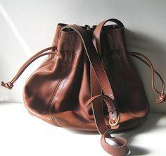 COACH Bucket Shoulder Bag Vintage Large Brown Leather Purse