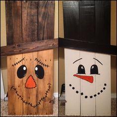 99 cute and fun snowman winter decoration ideas crafts and s Snowman Crafts, Crafts To Do, Fall Crafts, Halloween Crafts, Holiday Crafts, Diy Crafts, Fall Halloween, Wooden Pallet Crafts, Wood Crafts