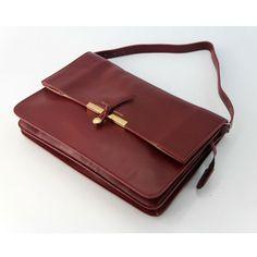CELINE CLASP FOLDOVER SHOULDER BAG 601066 RED - Celine Classics - Celine Bags