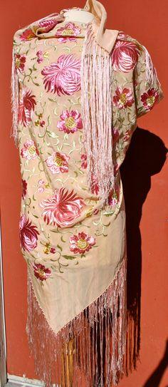 Embroidered silk piano shawl with long fringe by longagoandfaraway, $225.00
