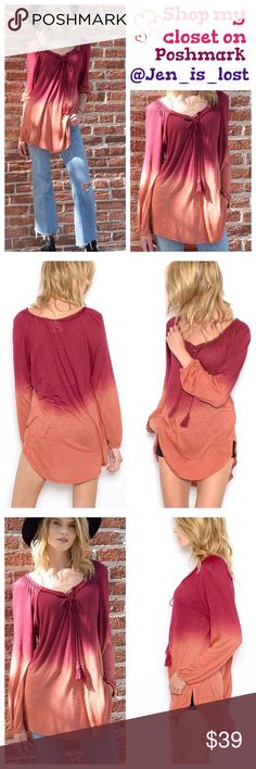Arrives 9/7❗️Dip Dye Knit Top S,M,L Dip Dye Knit Top Description: Long Sleeve dip dye knit top with tie neck detail.  Fabric: 100% Viscose. Fit is for women's sizes Small 2-4, Medium 6-8, Large 10-12 fit is true to size. 🚫 TRADES 🚫 ✅ Reasonable Offers Are Considered.✅ Use the blue offer button. Tops