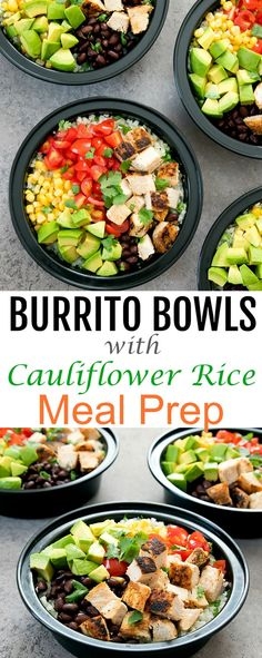Chicken Burrito Bowls with Cilantro Lime Cauliflower Rice. These burrito bowls a… Chicken Burrito Bowls with Cilantro Lime Cauliflower Rice. These burrito bowls are easy, flavorful, and are perfect for your weekly meal prep. Burrito Bowl Meal Prep, Meal Prep Bowls, Burrito Bowls, Burrito Burrito, Burritos, Cilantro Lime Cauliflower Rice, Cauliflower Recipes, Cauliflower Pearls Recipe, Sin Gluten