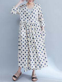 Casual Women Half Sleeve V-Neck Polk Dot Print Dresses