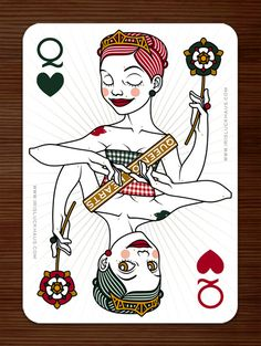 """Queen of Hearts poker card by © Iris Luckhaus, for Zeixs' """"52 Aces Reloaded"""" poker deck @ The Little Chimp Society"""