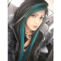 Blue streaked hair