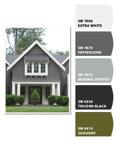 Exterior paint colours for house gray sherwin williams 63 Ideas Exterior Gray Paint, Exterior Color Schemes, Exterior Paint Colors For House, Paint Colors For Home, Exterior Design, Outside House Paint Colors, Paint Colours, Cottage Exterior Colors, Outside Paint