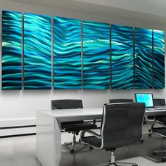 Jon Allen metal abstracts. Love!! Something like this in blues and greys to fill my blank living room wall.