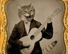 mixed media collage, Cat, Note cards, Blank Inside, sepia, funny, cat lover, Altered Antique Portrait