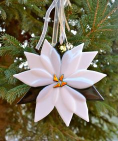 White Poinsettia Fused Glass Suncatcher or Ornament