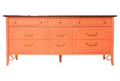 Shades of Spring - Coral Faux-Bamboo Credenza